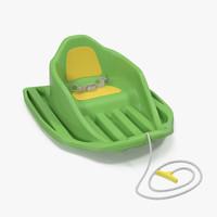 baby sled green 3d model