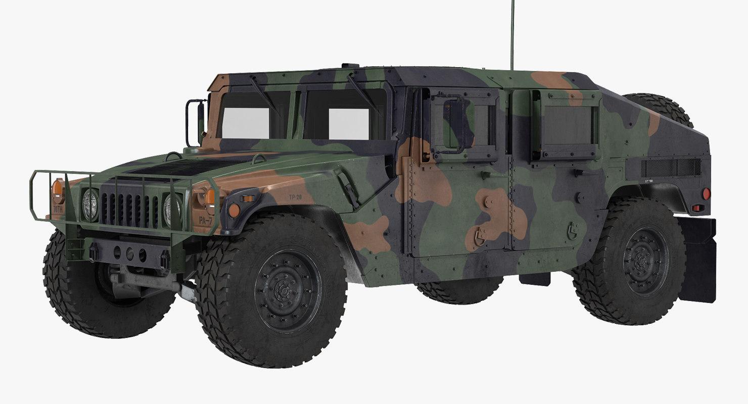 3d humvee m1151 simple interior model