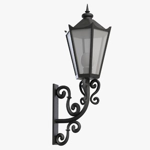 3d model old-fashioned street wall light