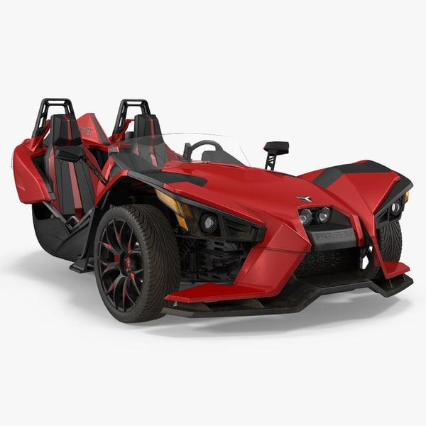 polaris slingshot trike red 3d model