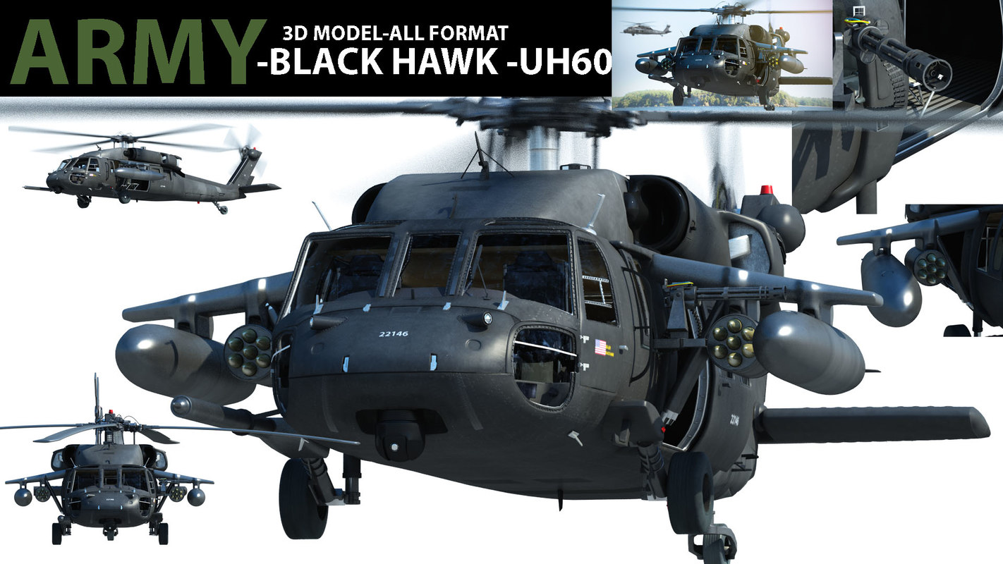 realistic uh 60 black hawk 3d model