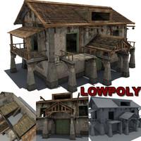 3d stone farm building