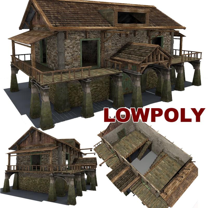 3d model stone farm building