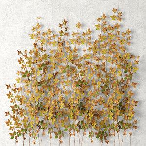 vine leaves wall 3d model