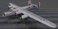 plane consolidated b-24j liberator 3d model
