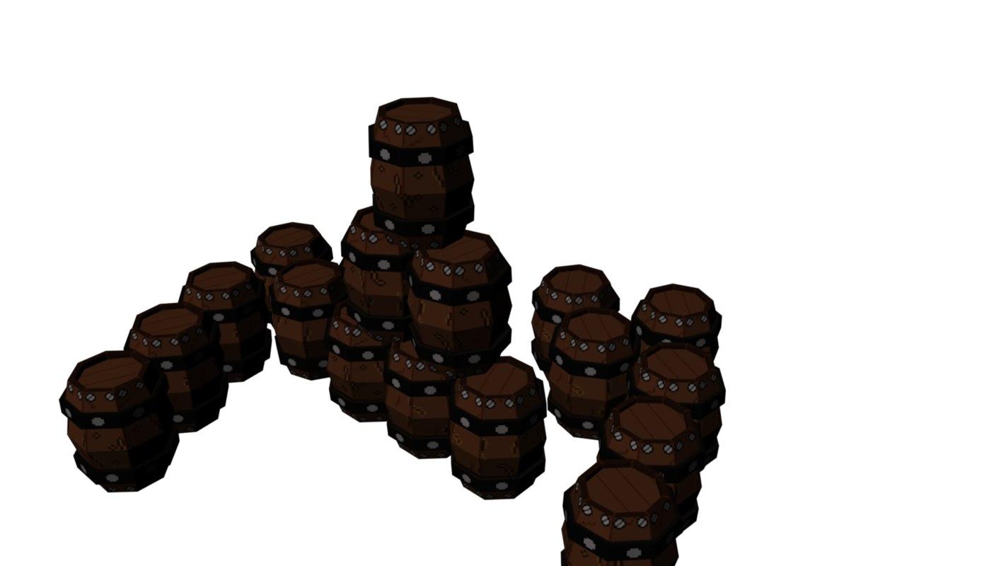 3d obj barrel pixel art