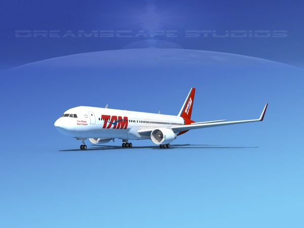 airlines boeing 767 767-300 3d 3ds