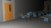 3d model classroom interior office