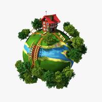 3d planet village model