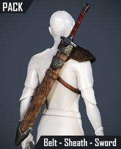 3d model - pack belt sheath