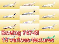 3d boeing 747-8i 13 various model