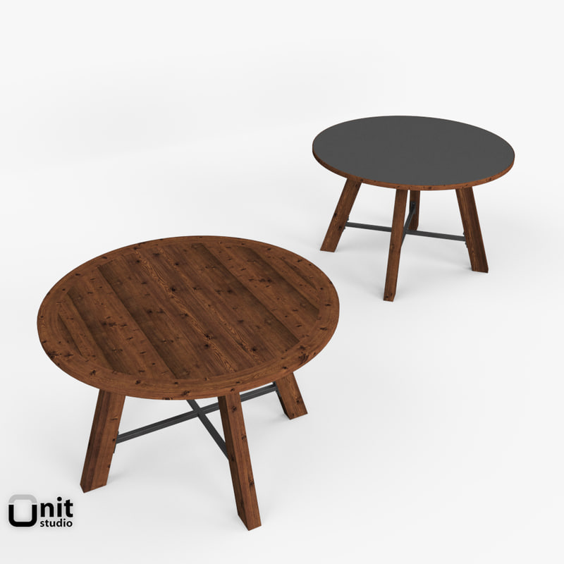 Zinc Top Railway Trestle Round Dining Table By Restoration Hardware. By  UnitStudio. 3d Model Reclaimed ...