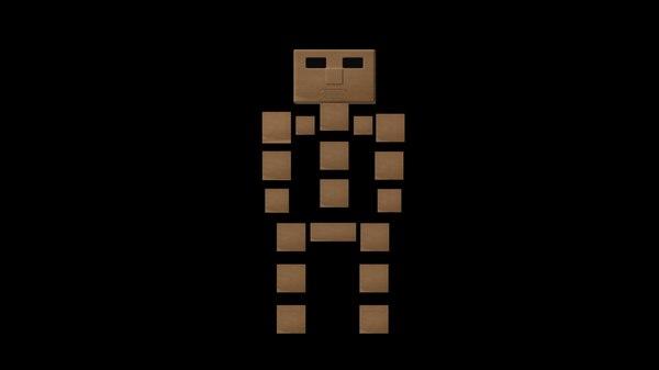 3d model elemental block man biped