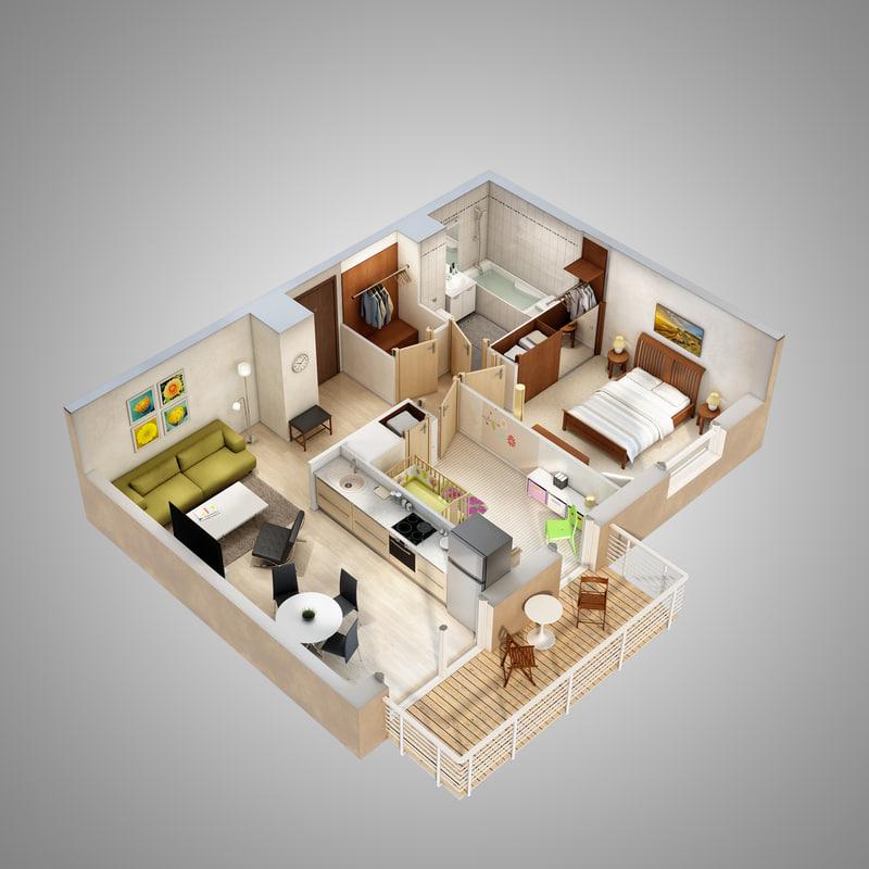 lighting floor plan scene 3d model