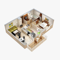 lighting floor plan scene 3d model