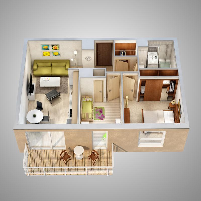 3d Lighting Floor Plan Scene Model