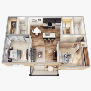 3d lights floor plan scene model