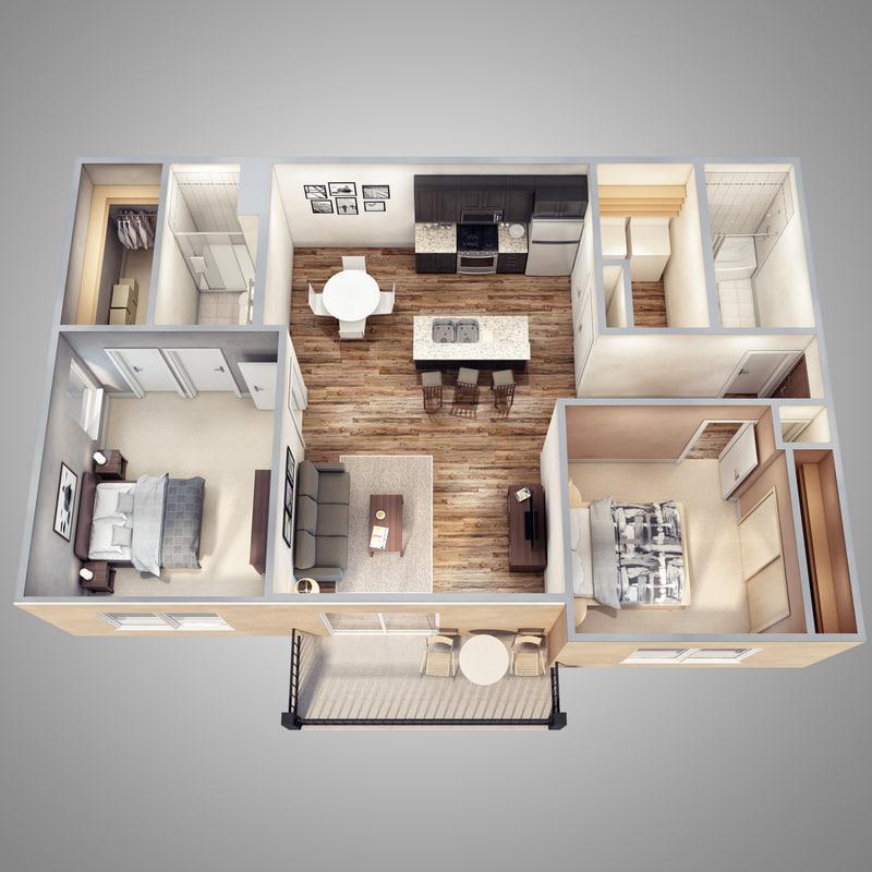 3d lights floor plan scene model