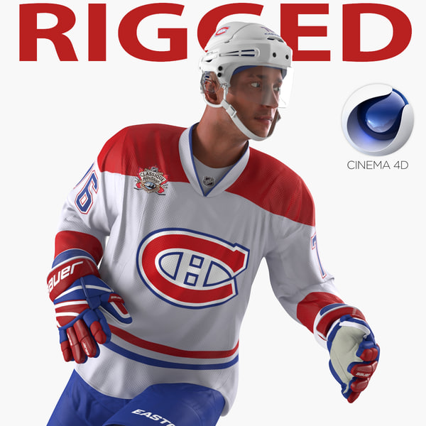 3d hockey player canadiens rigged model