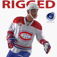 Hockey Player Canadiens Rigged for Cinema 4D