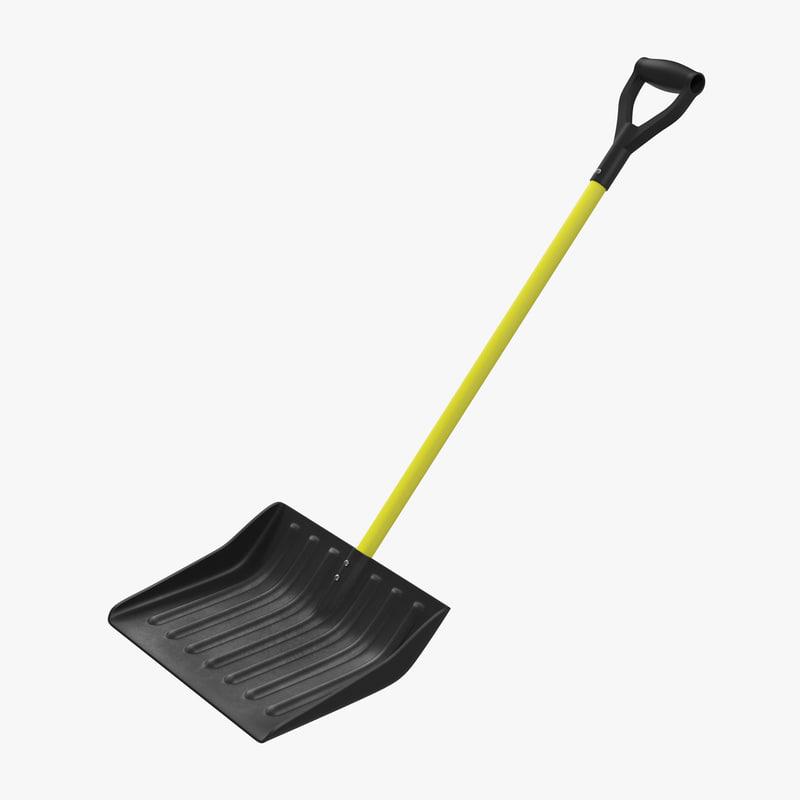 3d 3ds yellow snow shovel