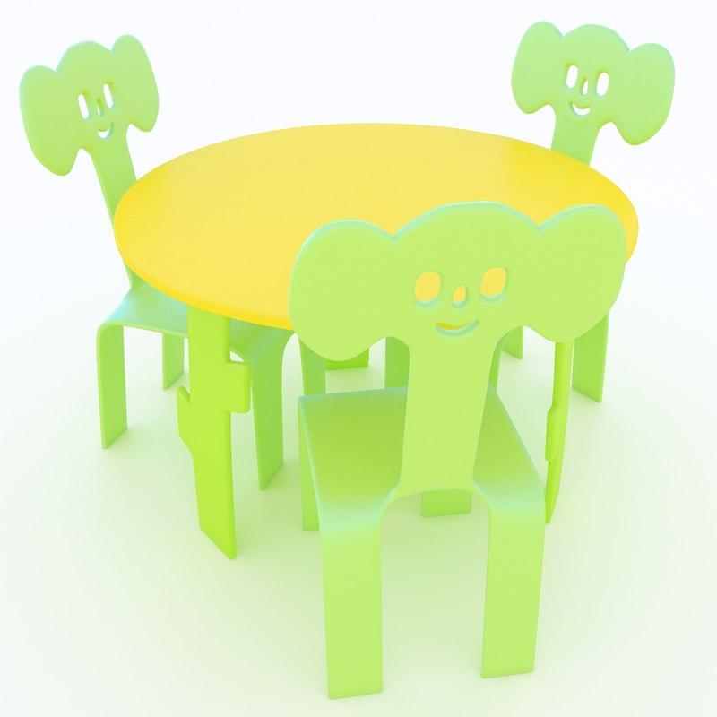 children s table chairs 3d obj