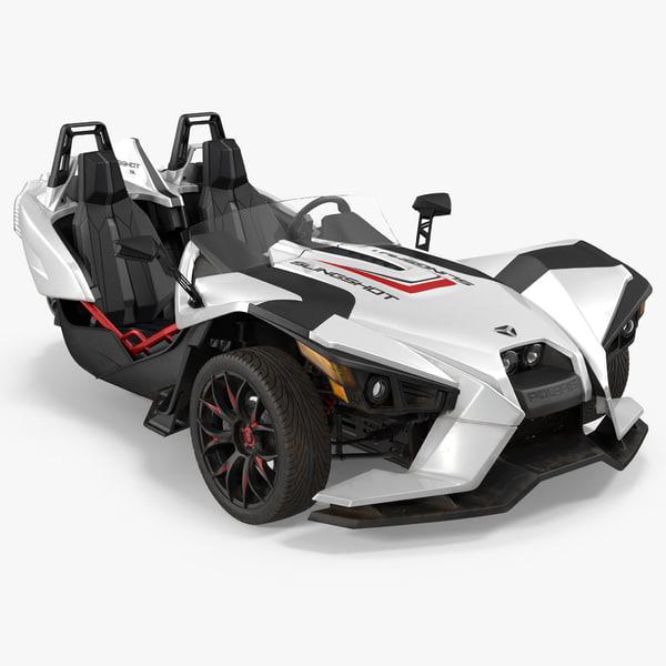 polaris slingshot trike white 3d model