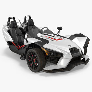 polaris slingshot trike white 3d model