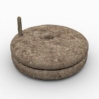 3d medieval grain grinder