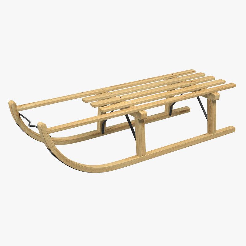 wooden sledge 3d model