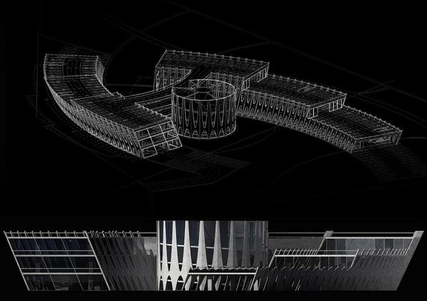 architectural multi-level parking 3d max