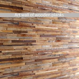 mosaic wood panel planks 3d model