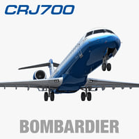 3d bombardier crj700 united express model