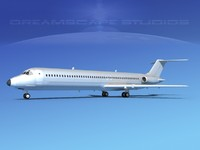 3d model of turbines dc-9-50 douglas dc-9 aircraft