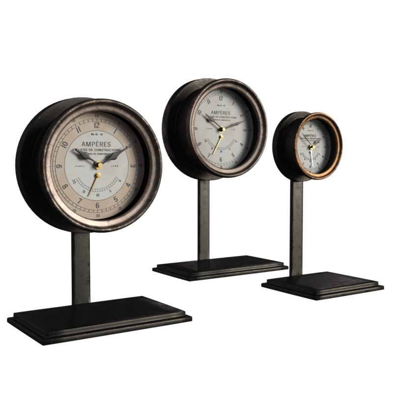 3d french amperes meter clock