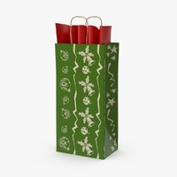 christmas bag 05 green 3d model