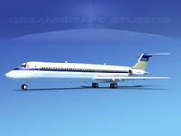 3d turbines dc-9-50 douglas dc-9 aircraft model