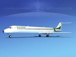 3d model turbines dc-9-50 airlines douglas