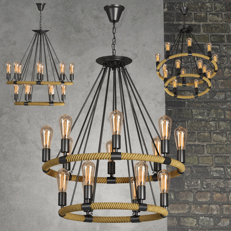3d model chandelier lamp light loft