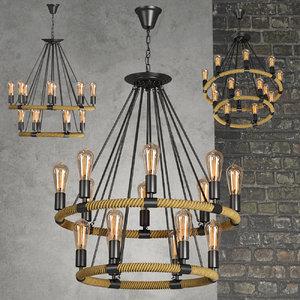 3d model chandelier lamp light loft