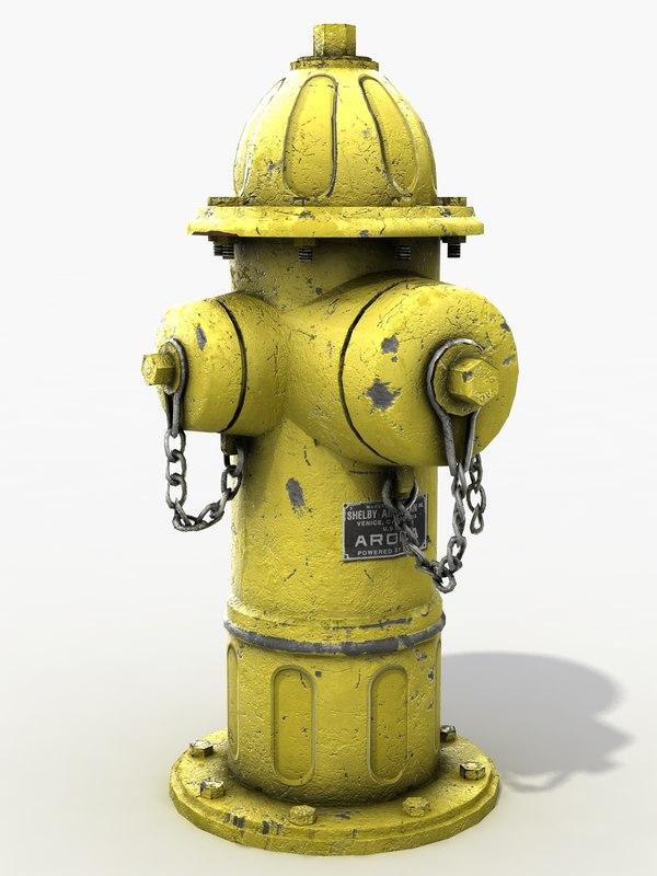 yellow hydrant 3d model