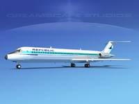 turbines dc-9-50 douglas dc-9 aircraft 3d model