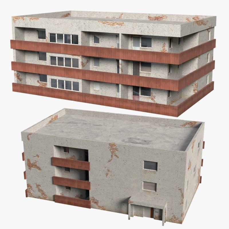 units building exterior 3d obj