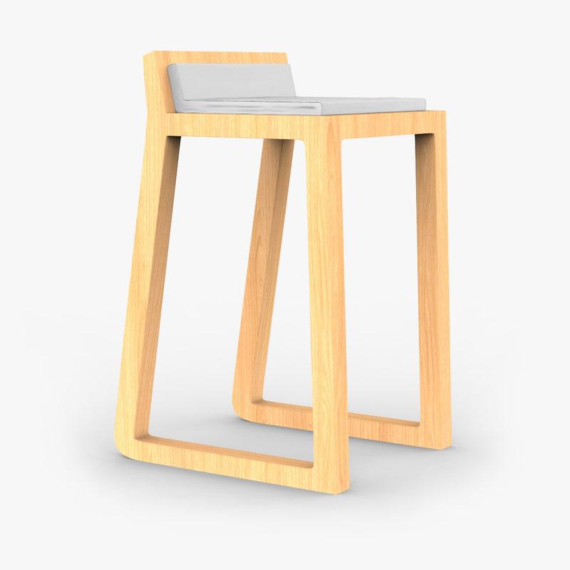 oak joe stool 3d 3ds