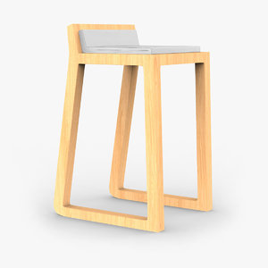 oak joe stool 3d 3ds