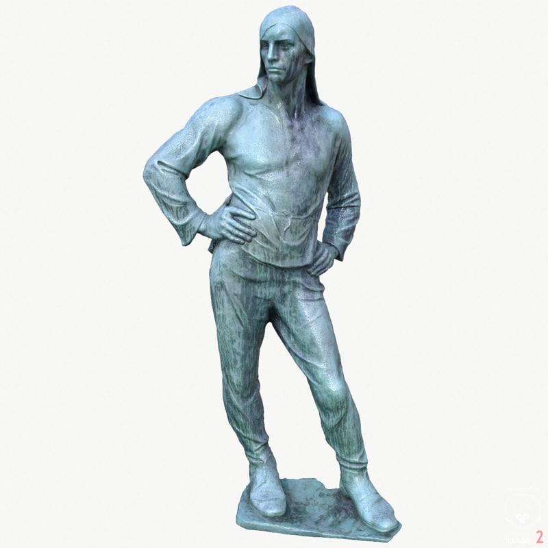 statue dock worker 3d model