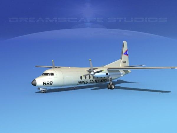3d fairchild f-27 fokker model