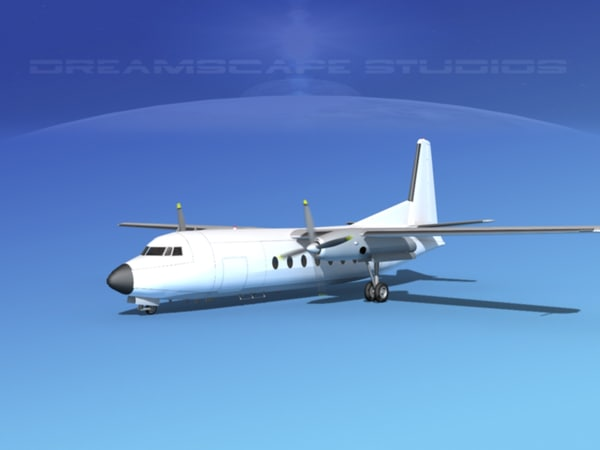 3d model of fairchild f-27 fokker