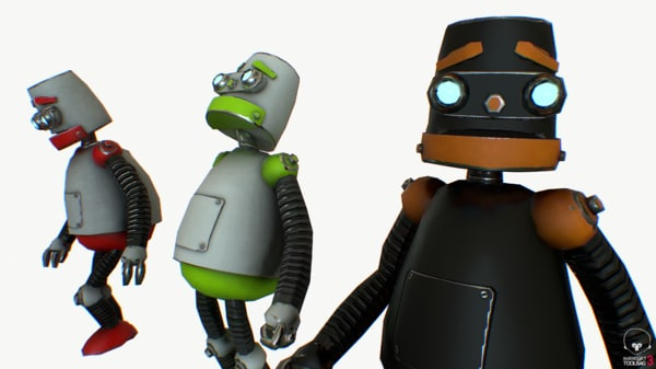 3d model pbr robot cartoon rigged