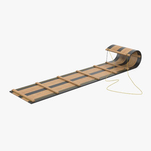 wooden sled toboggan 3d model